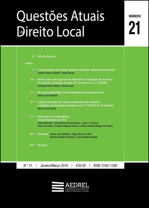 Questões Atuais de Direito Local N.º 21 (Janeiro - Março 2019)