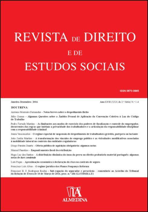 Revista de Direito e de Estudos Sociais, Janeiro-Dezembro 2016 - Ano LVII (XXIX da 2.ª Série) N 1-4