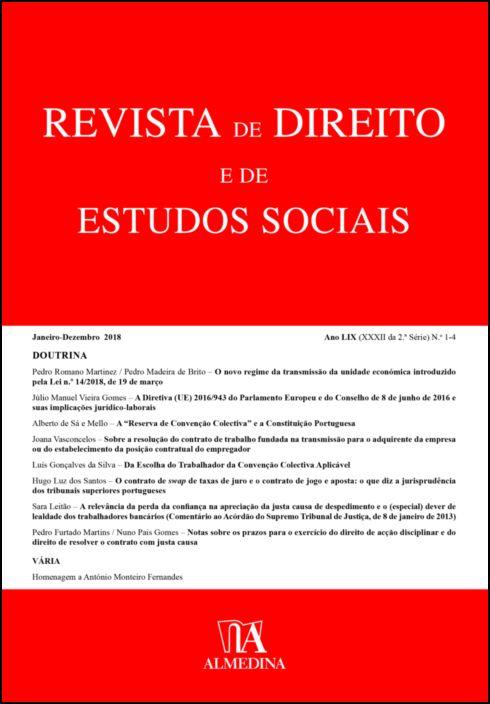 Revista de Direito e de Estudos Sociais, Janeiro-Dezembro 2018 - Ano LIX (XXXI da 2.ª Série) N 1-4
