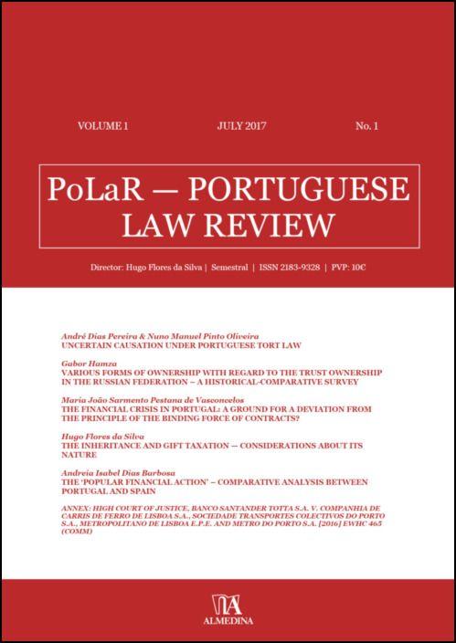 PoLaR Portuguese Law Review - vol. 1 - n.º 1