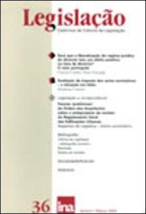 Legislação (Cadernos de Ciência de Legislação) n.º 36 - Janeiro - Março 2004