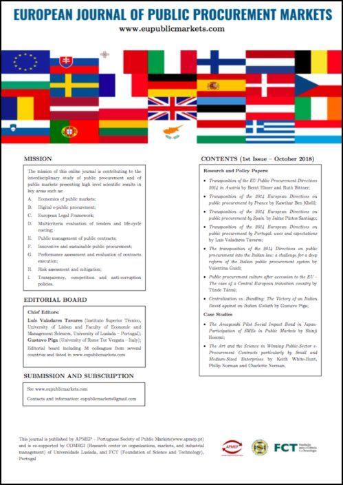 European Journal of Public Procurement Markets - 1st Issue (October 2018)
