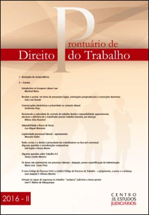 Prontuário de Direito do Trabalho II 2016