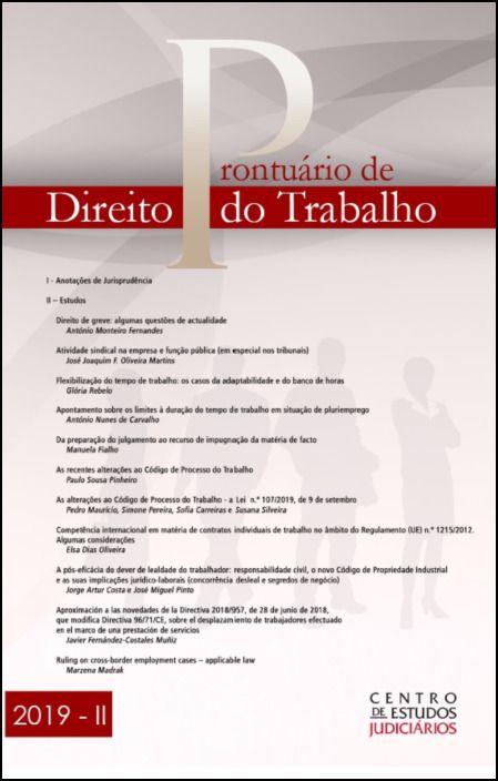 Prontuário de Direito do Trabalho II 2019